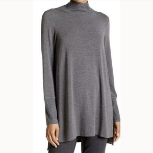 EILEEN FISHER Funnel Neck Gray Top Tunic NWOT